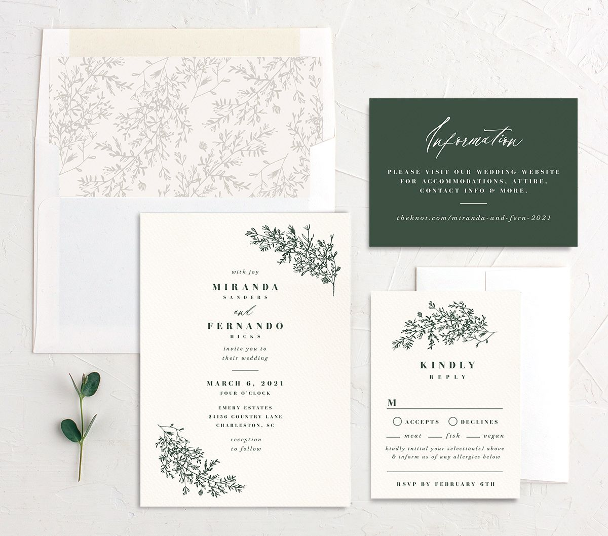 Botanical branches wedding invitation suite in green