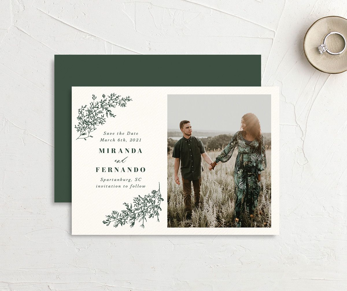 botanical branches save the date cards with engagement photo in green