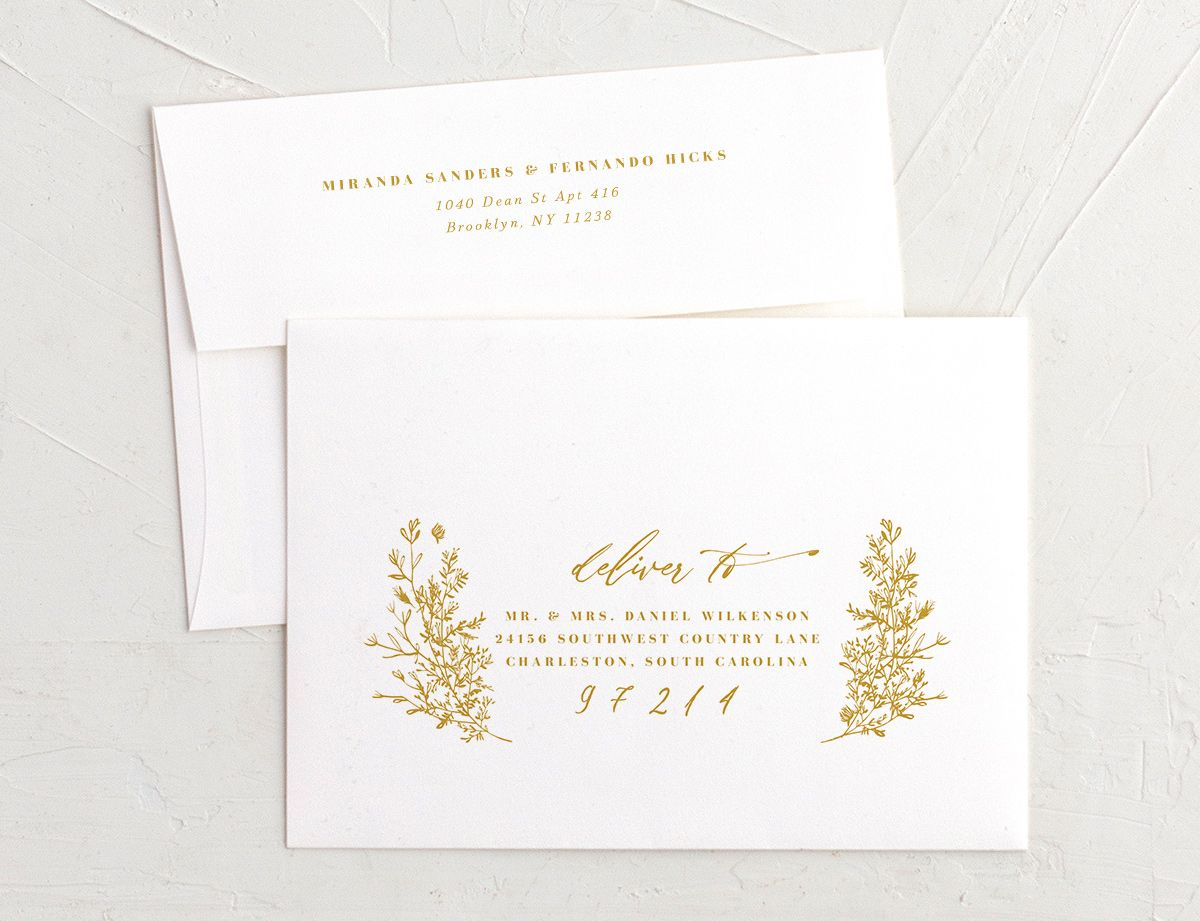 botanical branches recipient address printing in mustard
