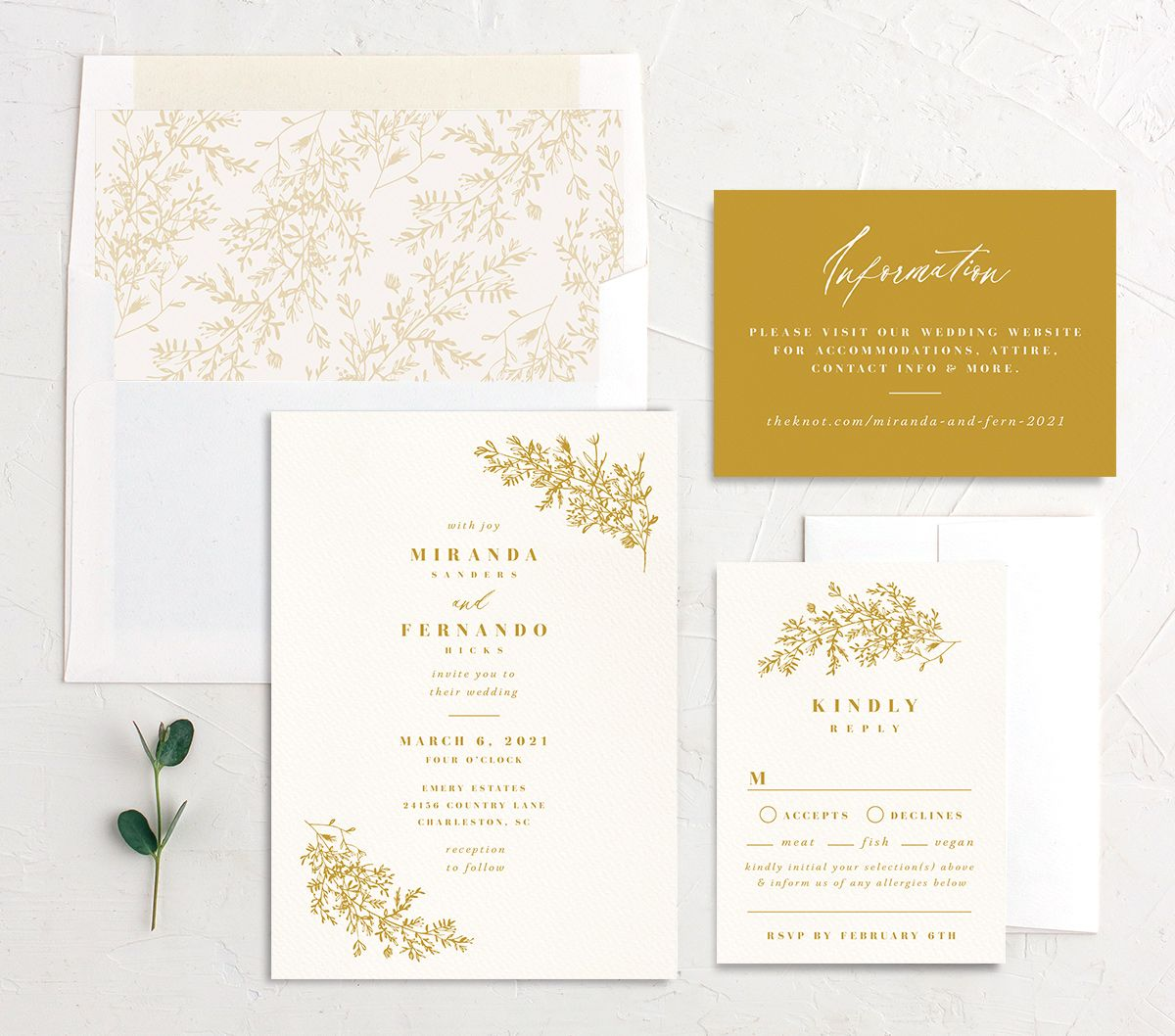 Botanical branches wedding invite suite in mustard yellow