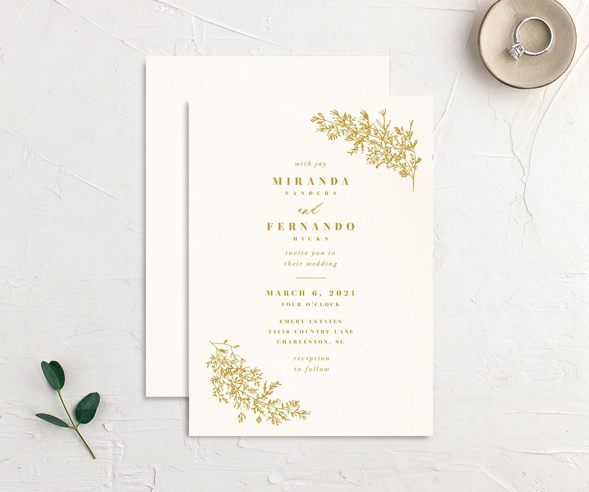 Botanical branches wedding invitations in yellow