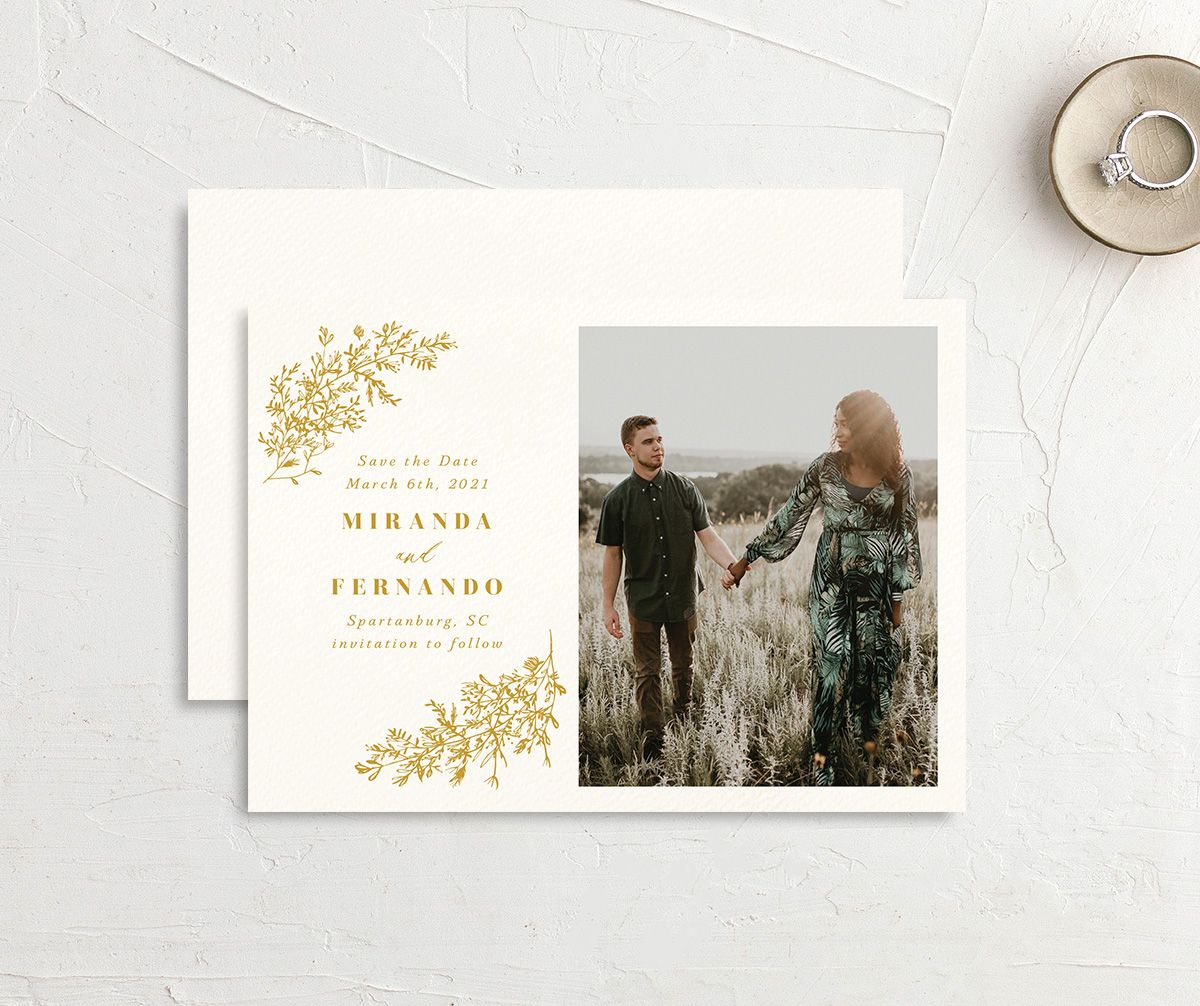 botanical branches save the dates with engagement photo in mustard