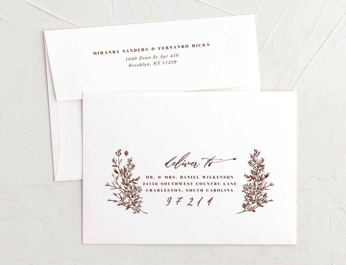 Botanical branches recipient address printing envelopes