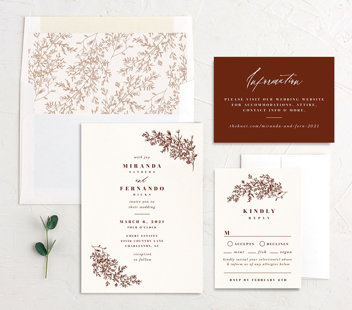 Botanical branches wedding invitation suite in rust