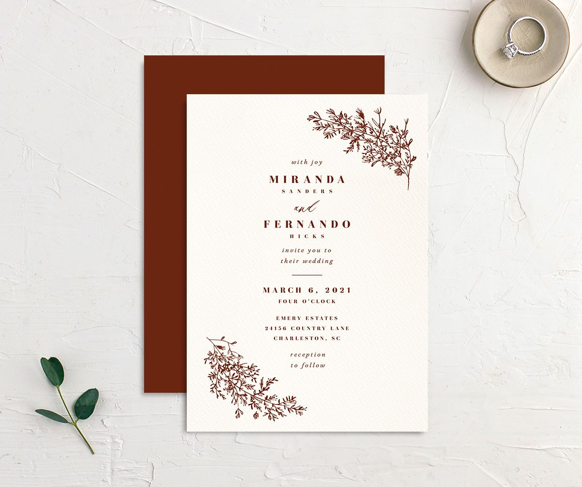 Botanical branches wedding invitations in rust