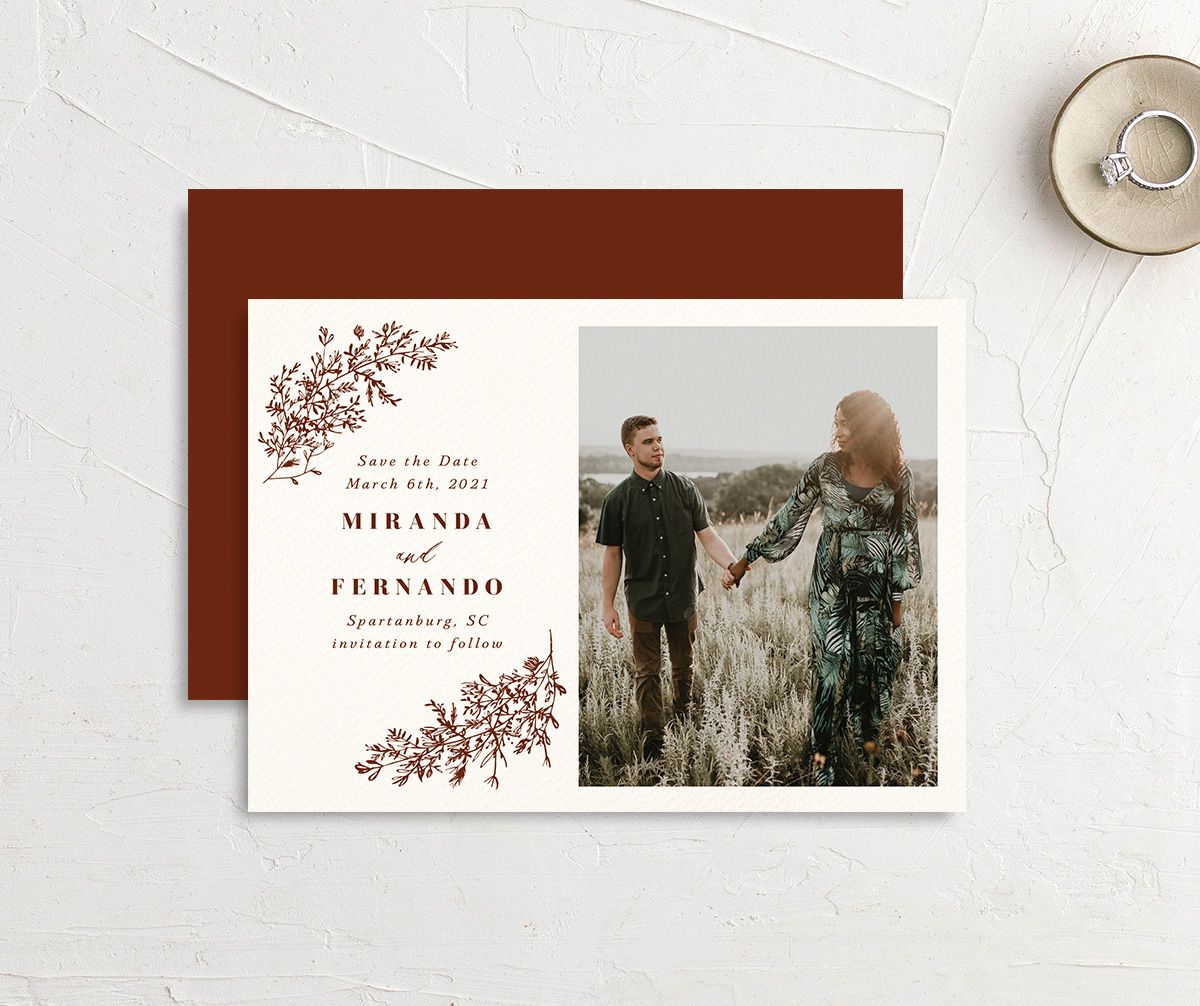 botanical branches save the date cards with engagement photo in rust