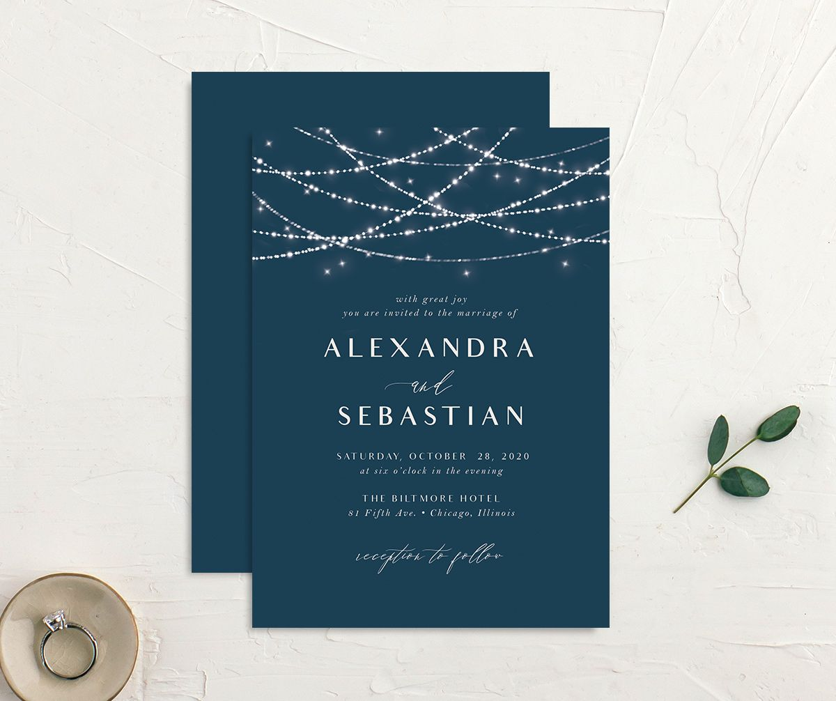 elegant lights wedding invites