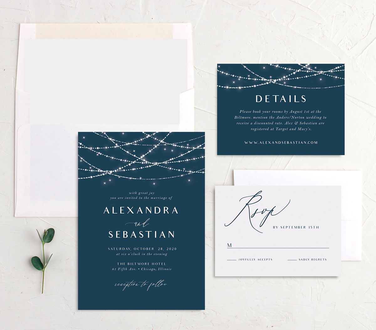 elegant lights wedding invitation suite
