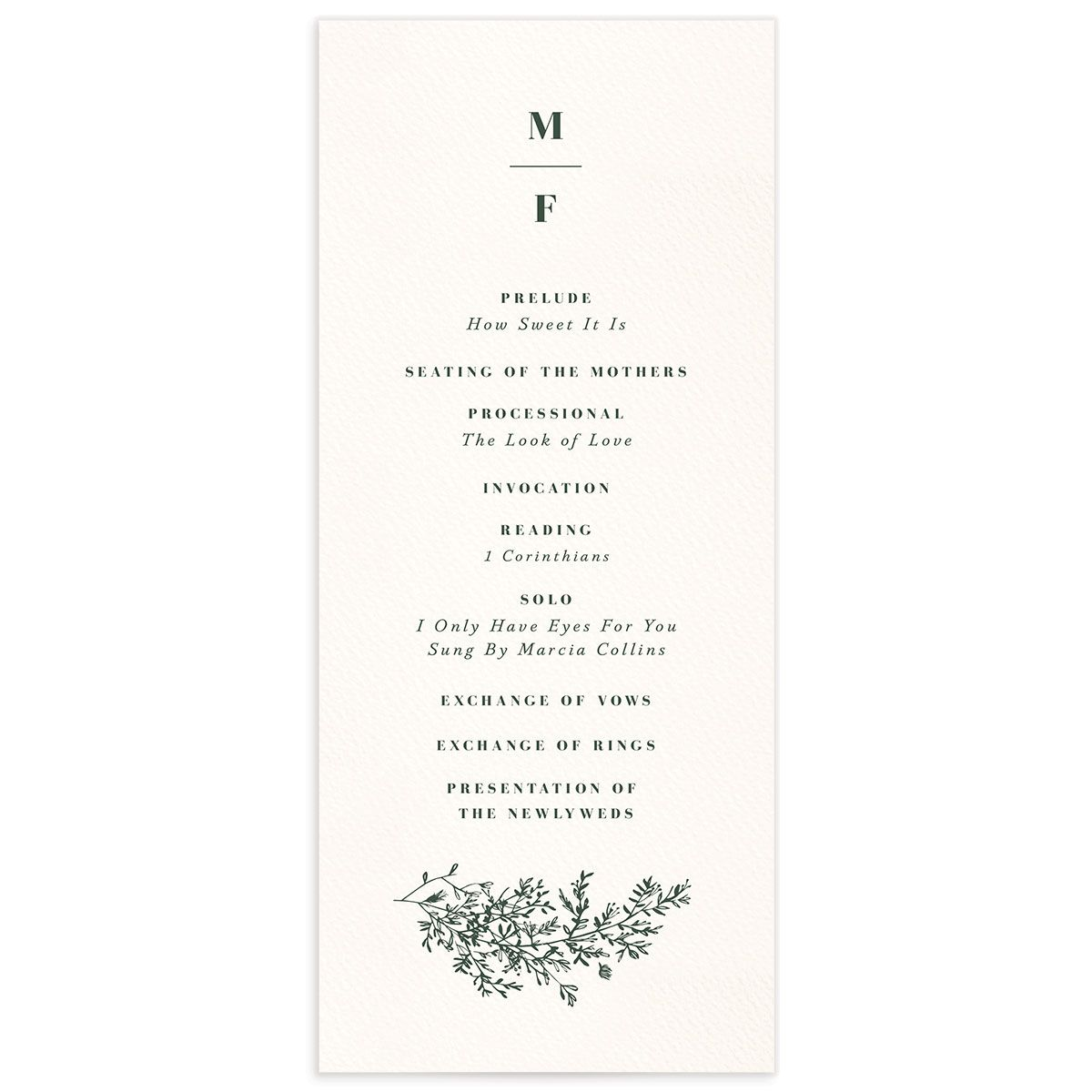 Botanical Branches wedding program front in green