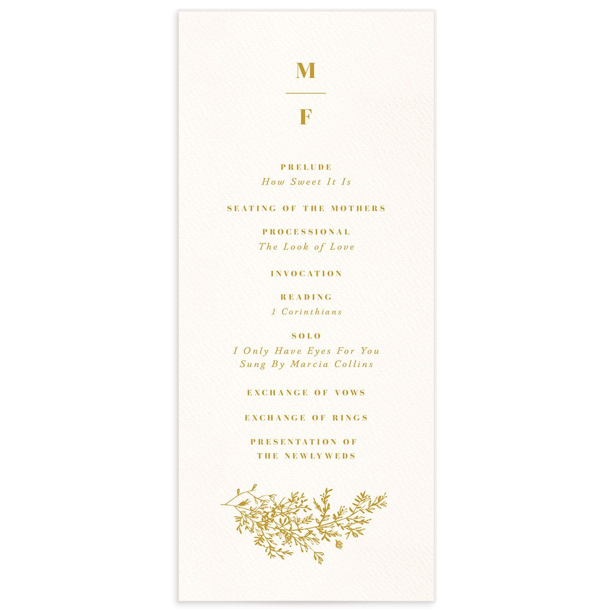 Botanical Branches wedding program front in yellow