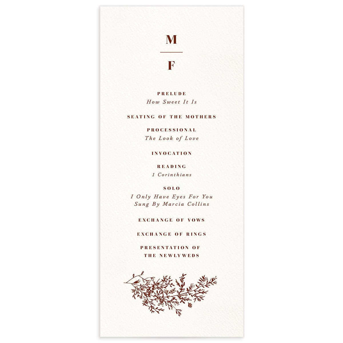 Botanical Branches wedding program front in rust
