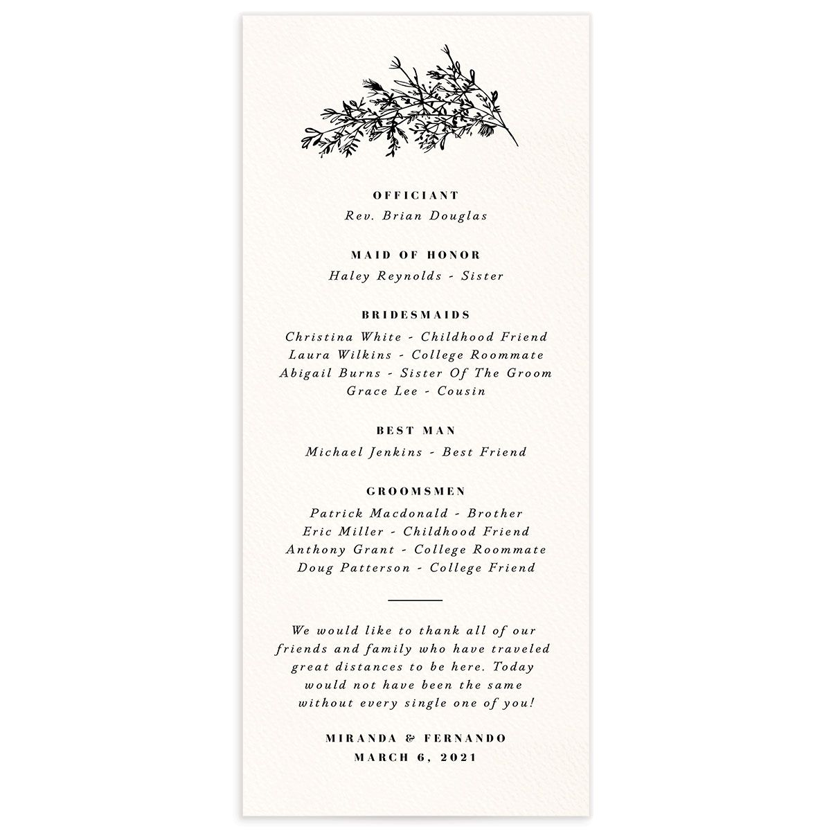 Botanical Branches wedding program back in black