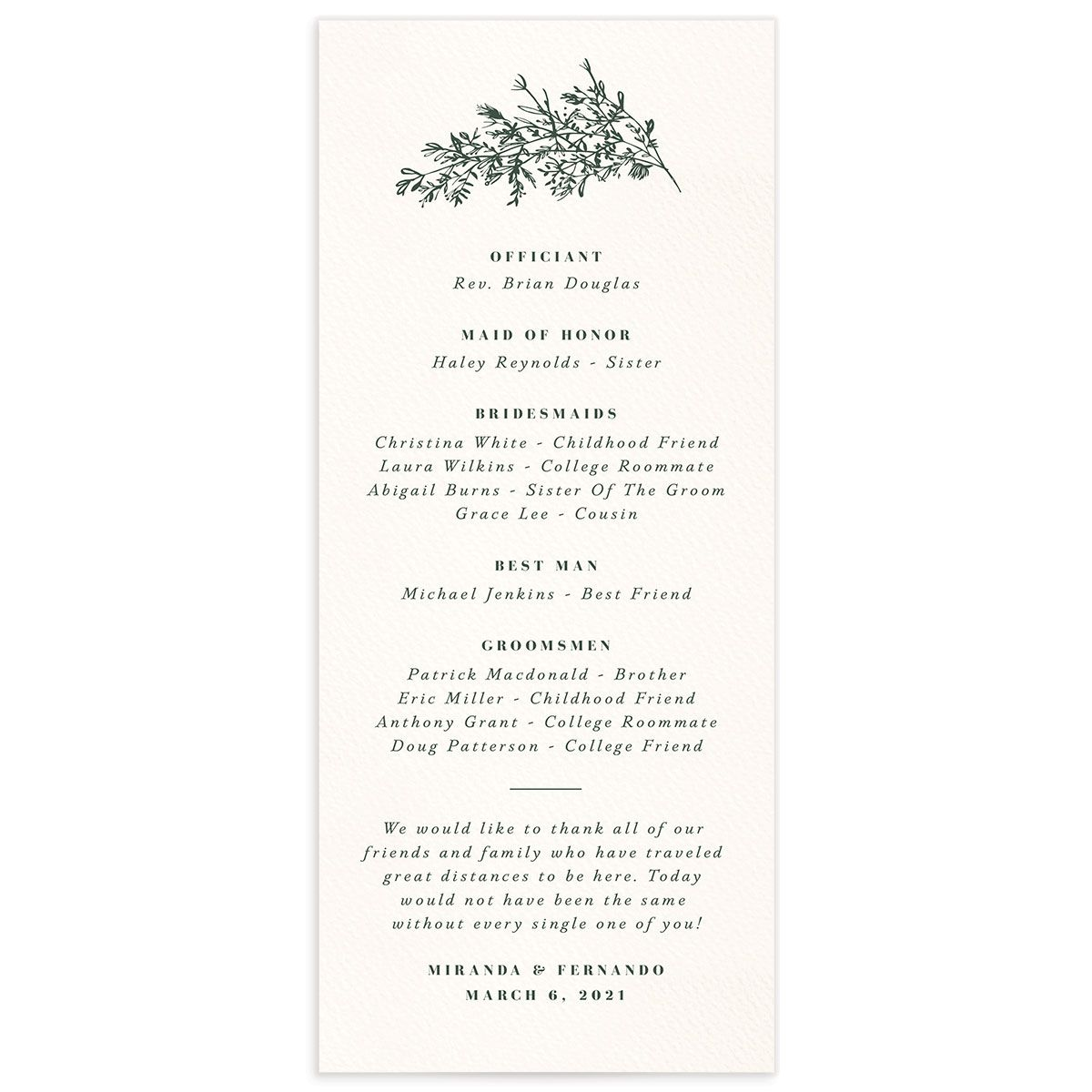 Botanical Branches wedding program back in green