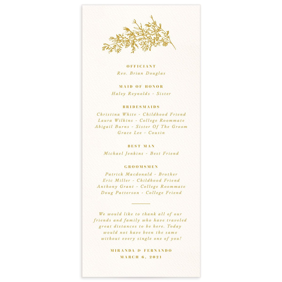 Botanical Branches wedding program back in yellow