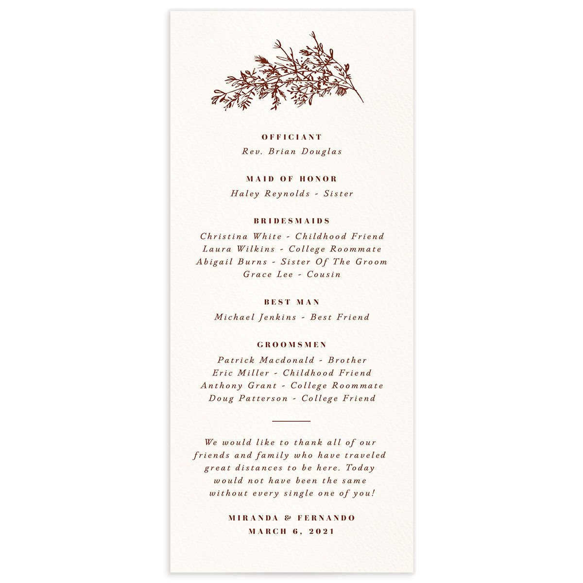 Botanical Branches wedding program back in rust