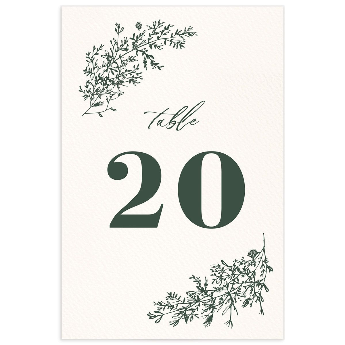 Botanical Branches wedding table number front in black
