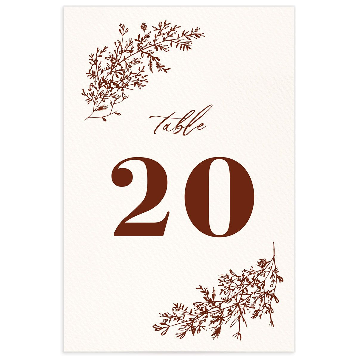 Botanical Branches wedding table number front in rust