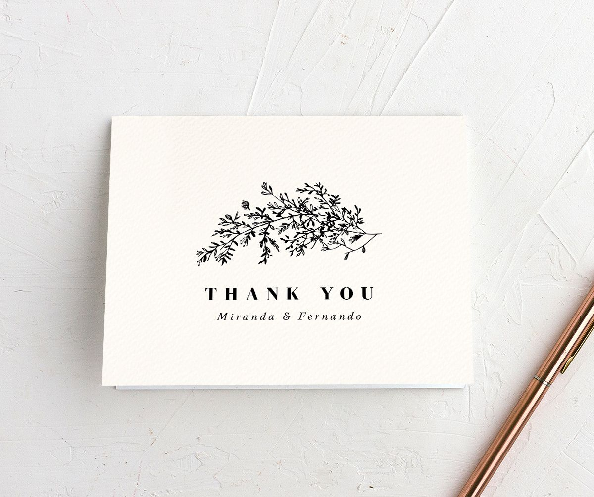 Botanical branches wedding thank you cards in black