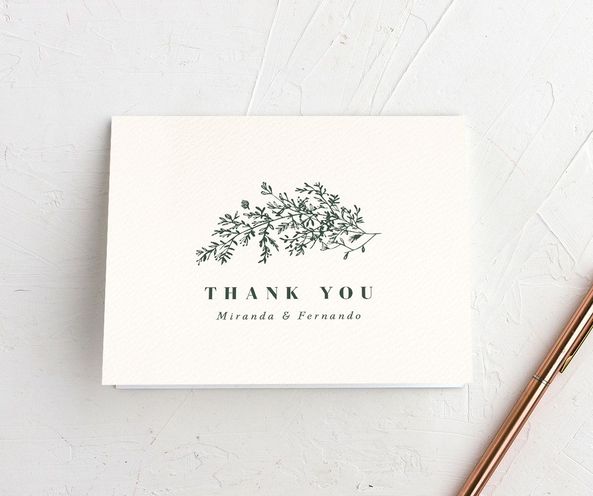 botanical branches wedding thank you cards in green