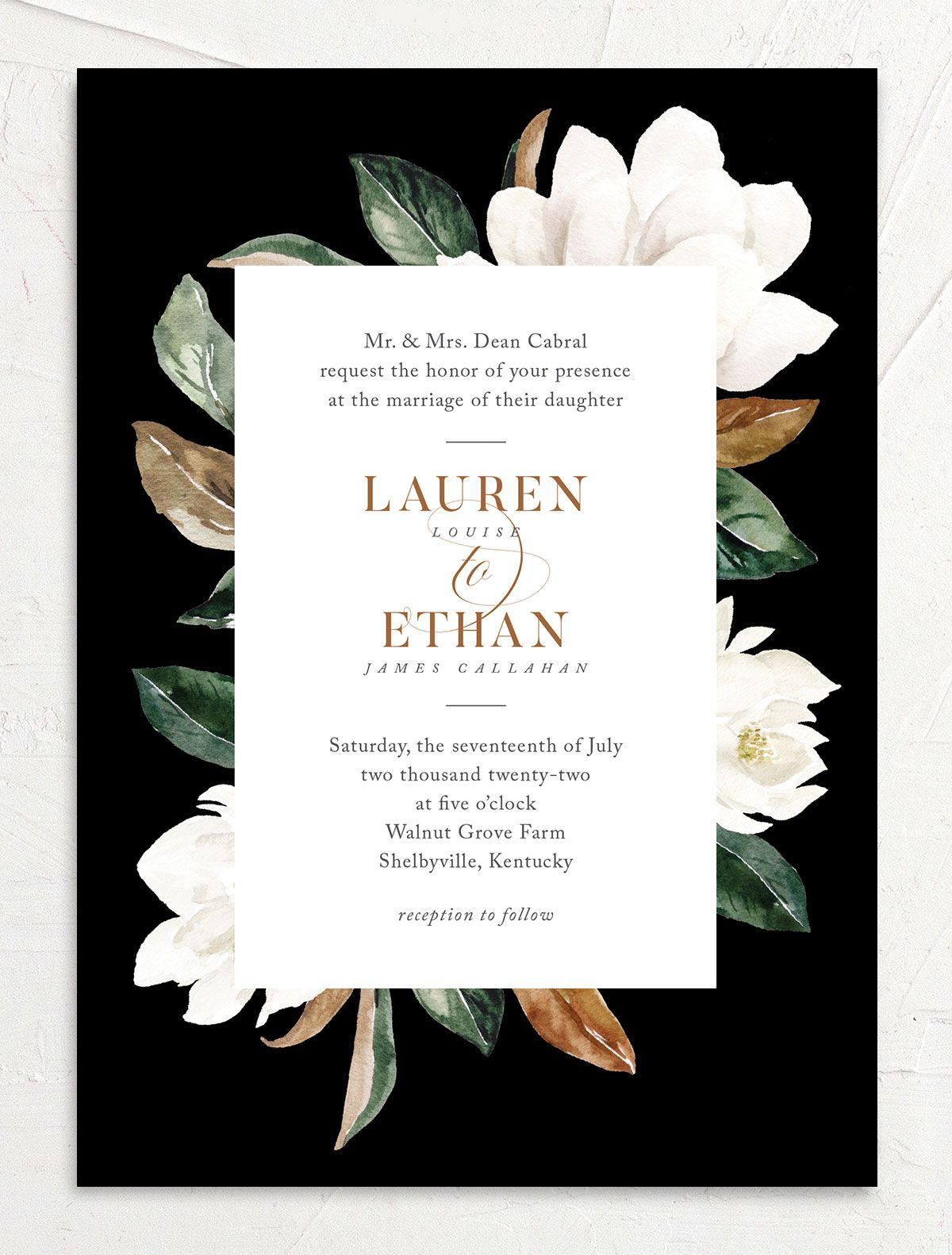 Painted Magnolia wedding invites in black
