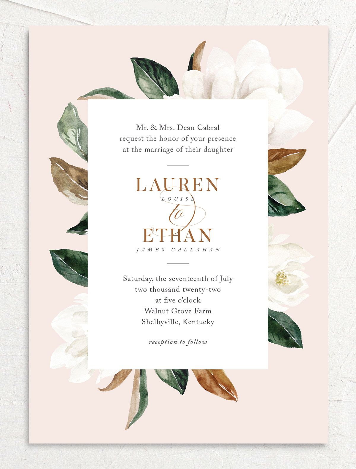 painted magnolia wedding invitations in pink