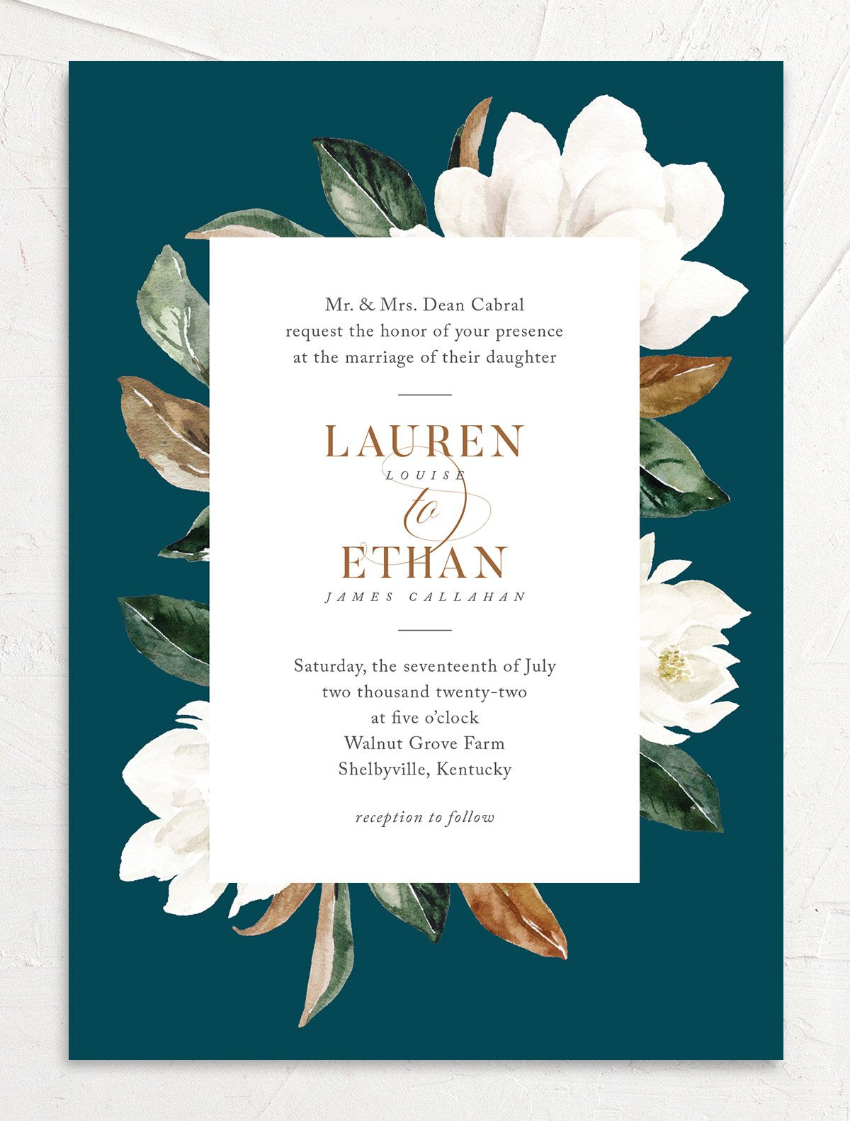 painted magnolia wedding invitation in teal