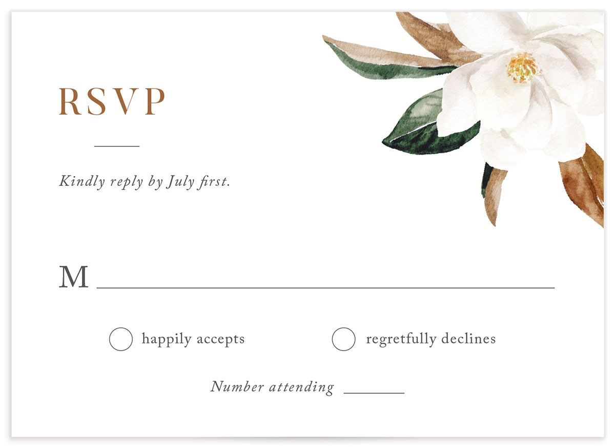 painted magnolia wedding response card in grey