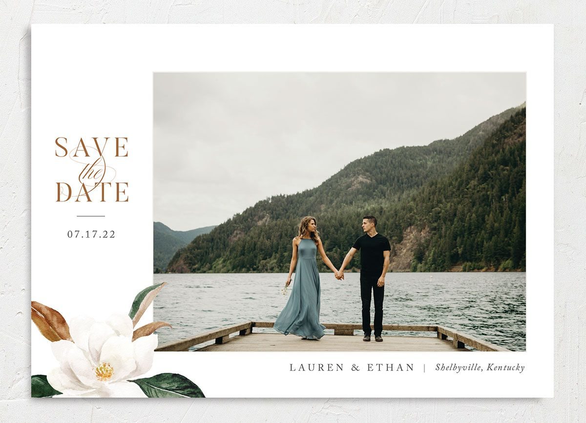 painted magnolia photo save the date cards