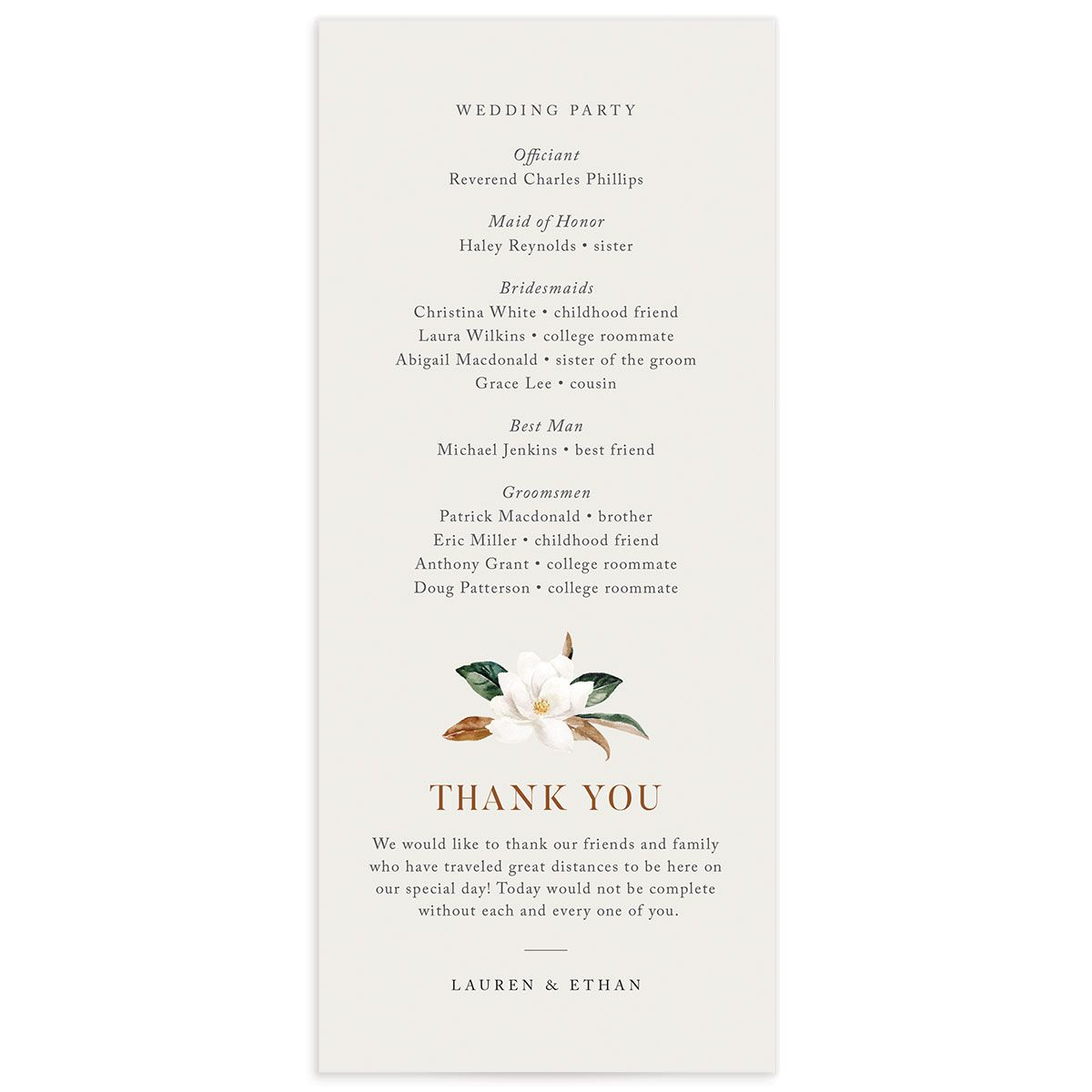 painted magnolia wedding ceremony programs back