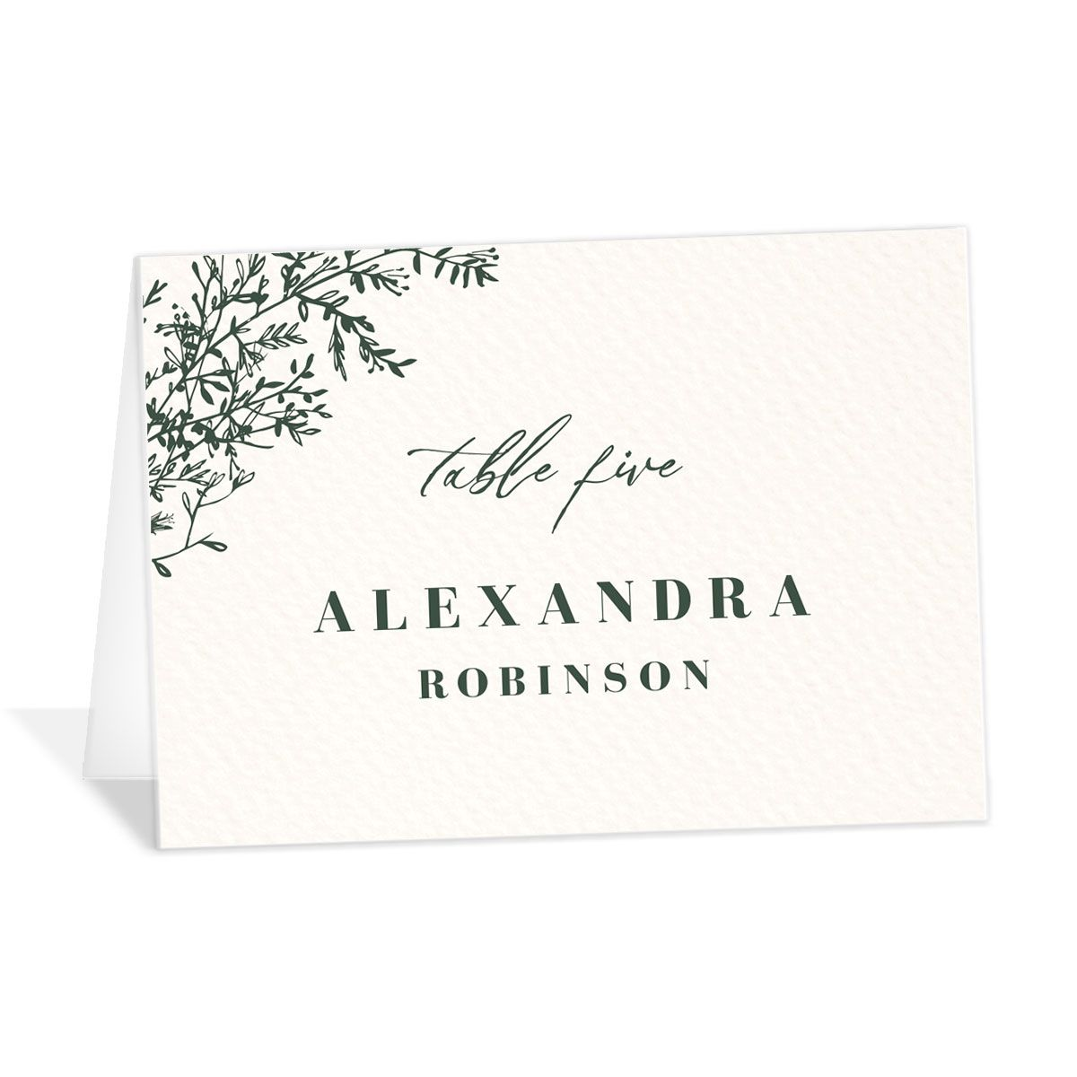 Botanical Branches Wedding Escort Cards in green