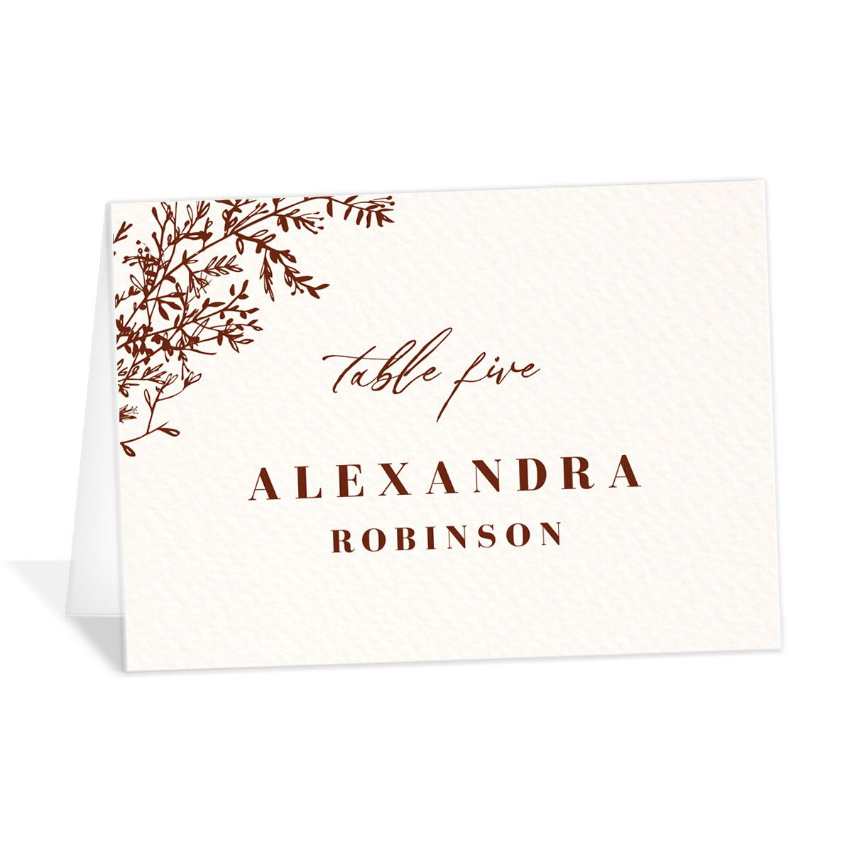 Botanical Branches Wedding Escort Cards in rust