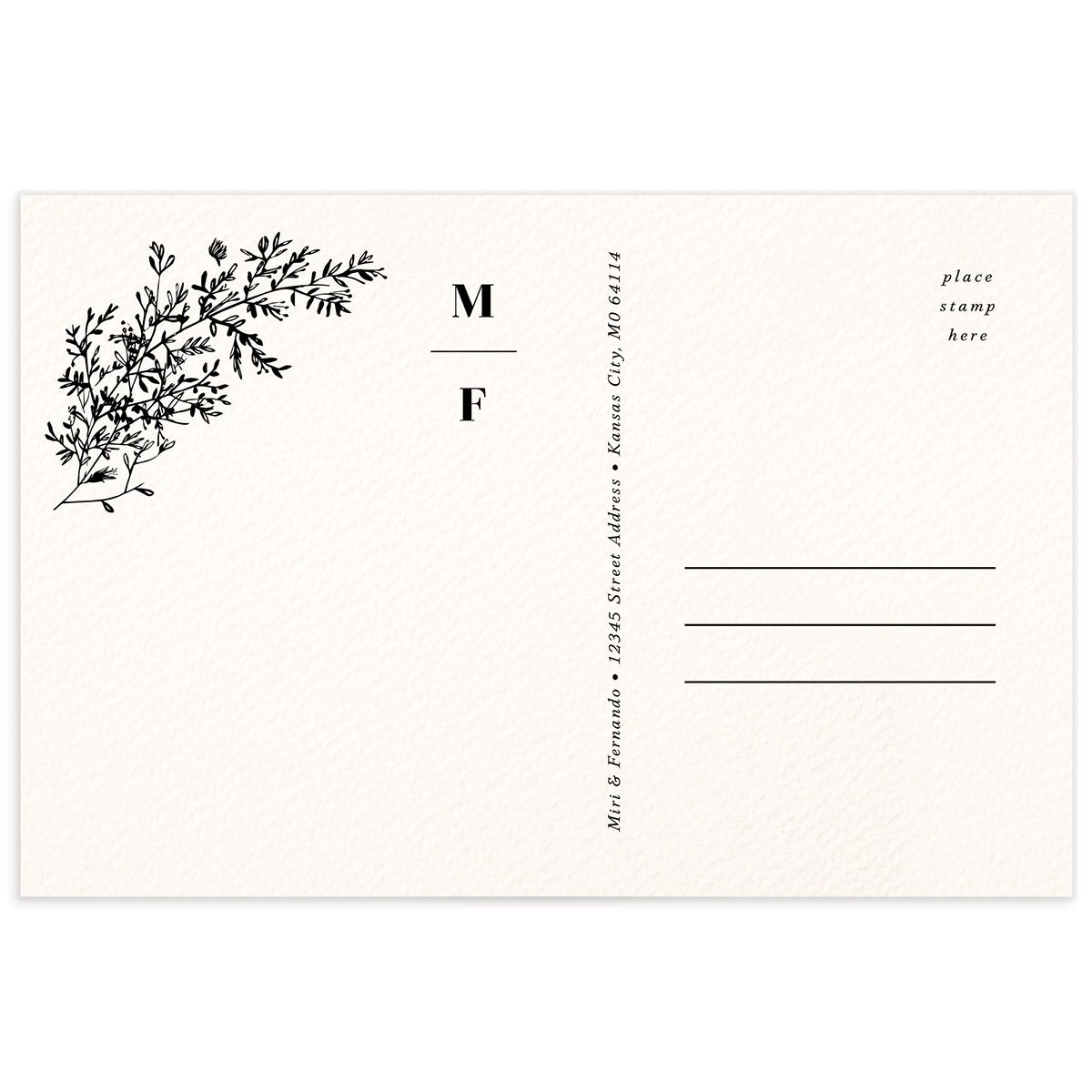 Botanical Branches Thank You Postcard black back