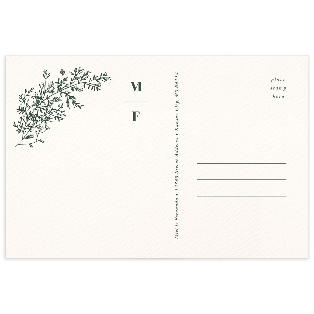 Botanical Branches Thank You Postcard green back
