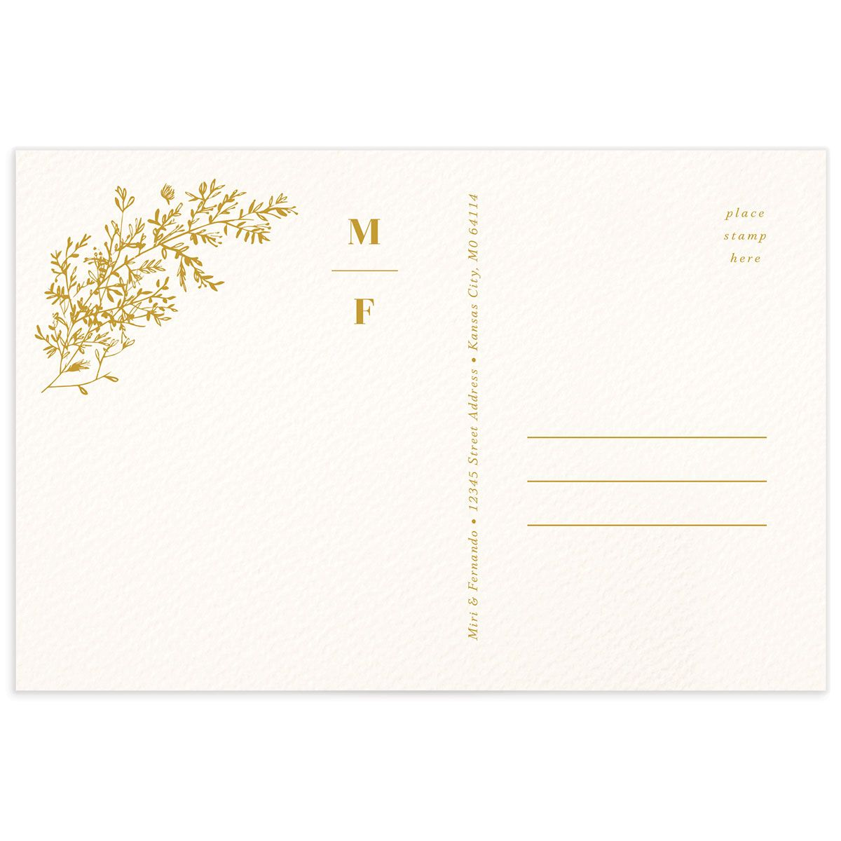 Botanical Branches Thank You Postcard mustard back