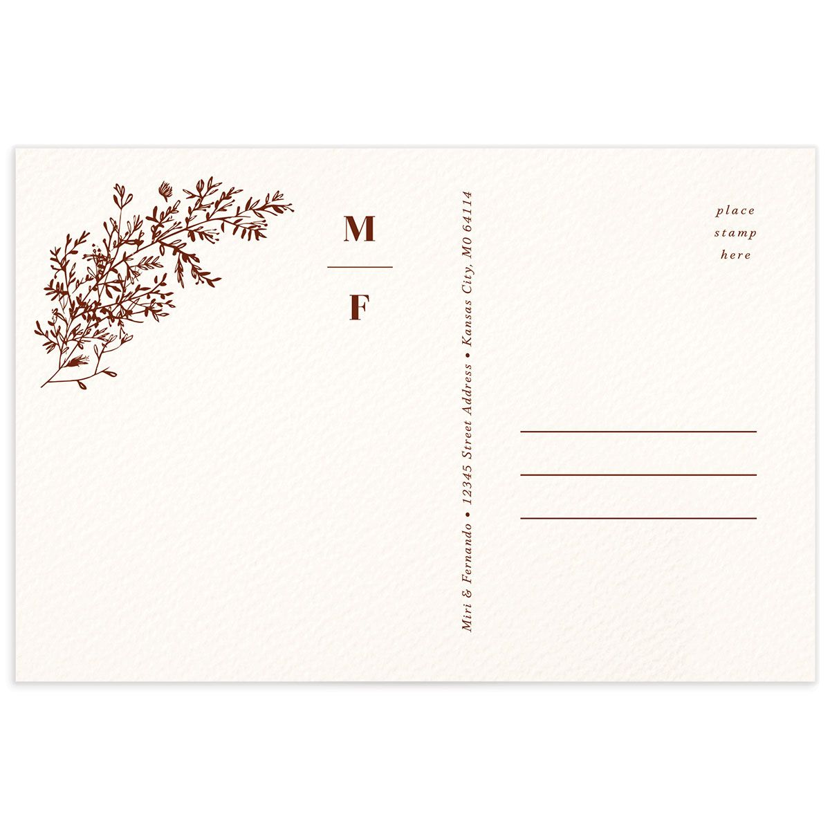 Botanical Branches Thank You Postcard rust back