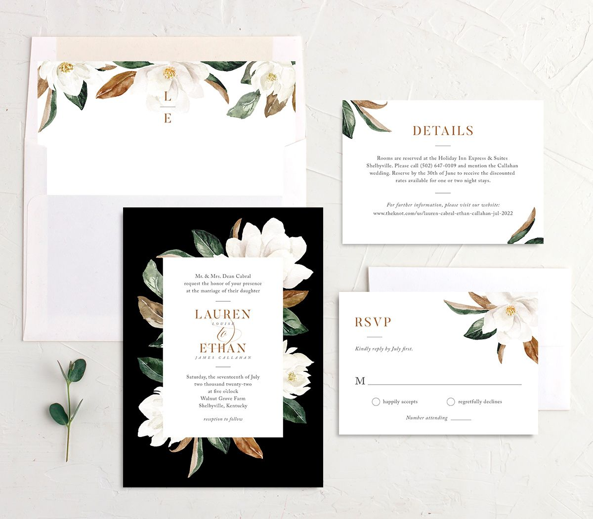 painted magnolia wedding invitation stationery suite