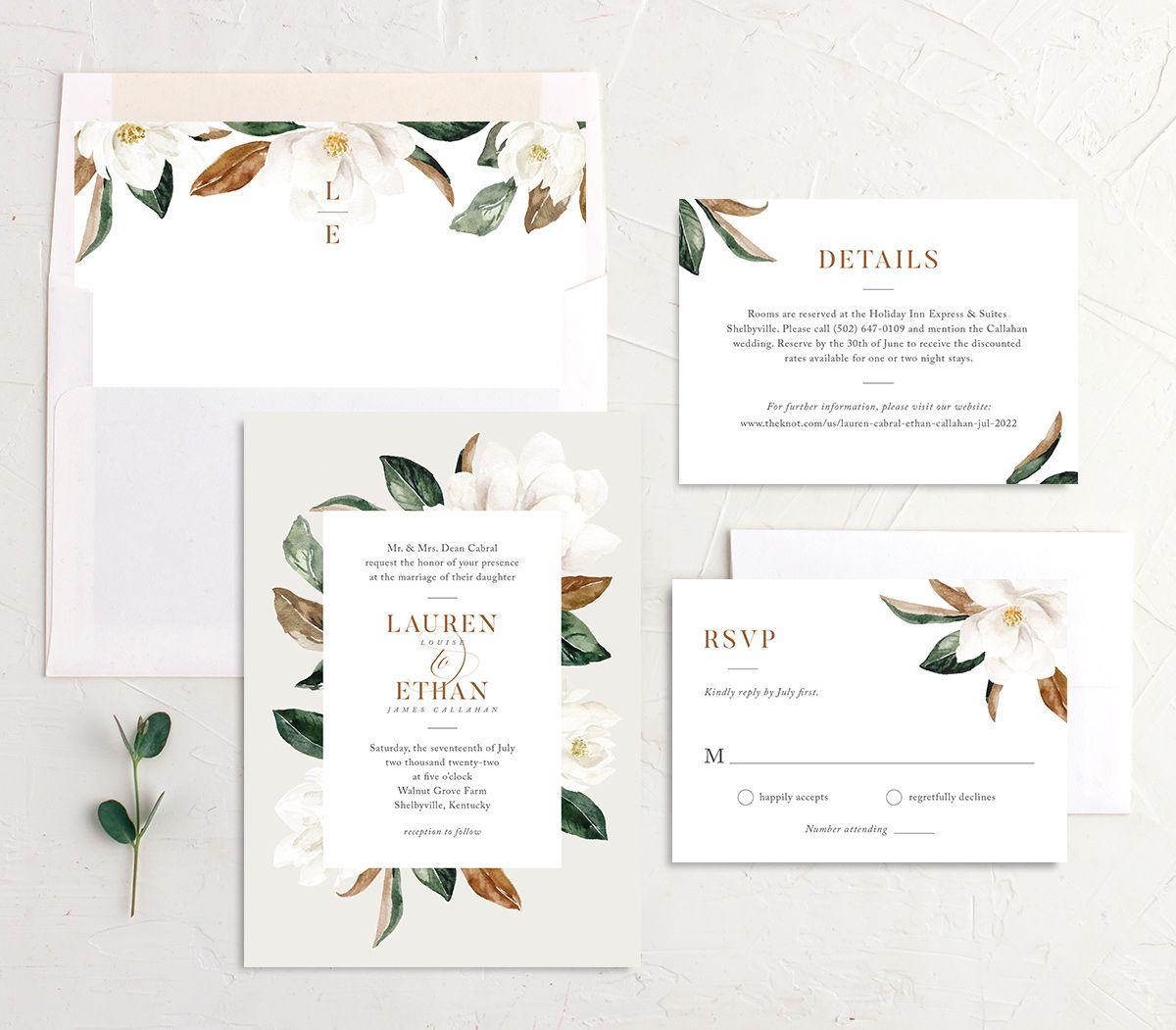 painted magnolia wedding invitation stationery suite in grey