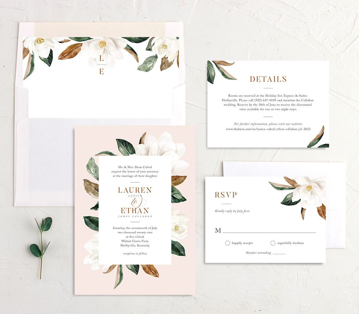 painted magnolia wedding invitation stationery suite in pink