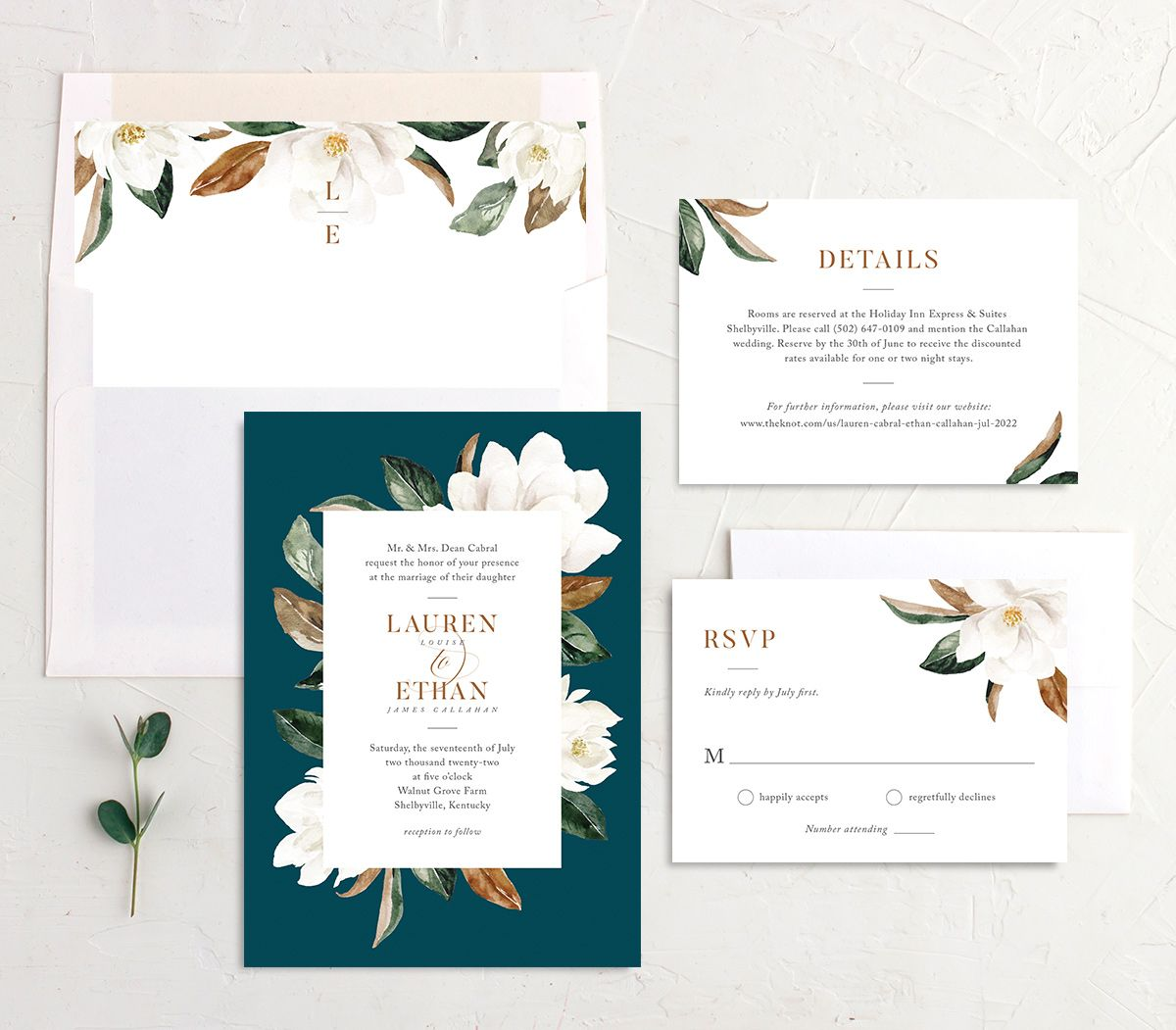 painted magnolia wedding invitation suite in teal