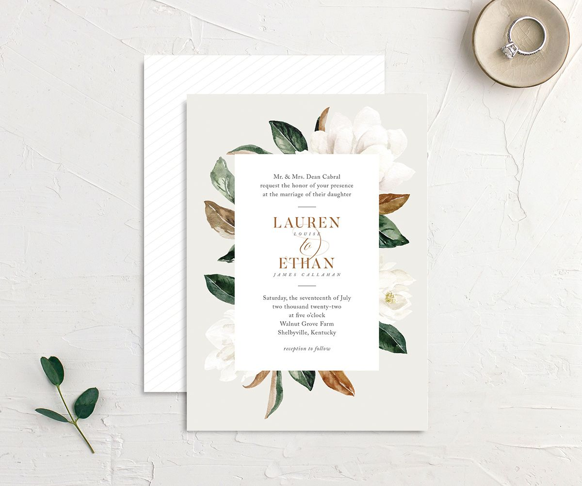 painted magnolia wedding invites in grey