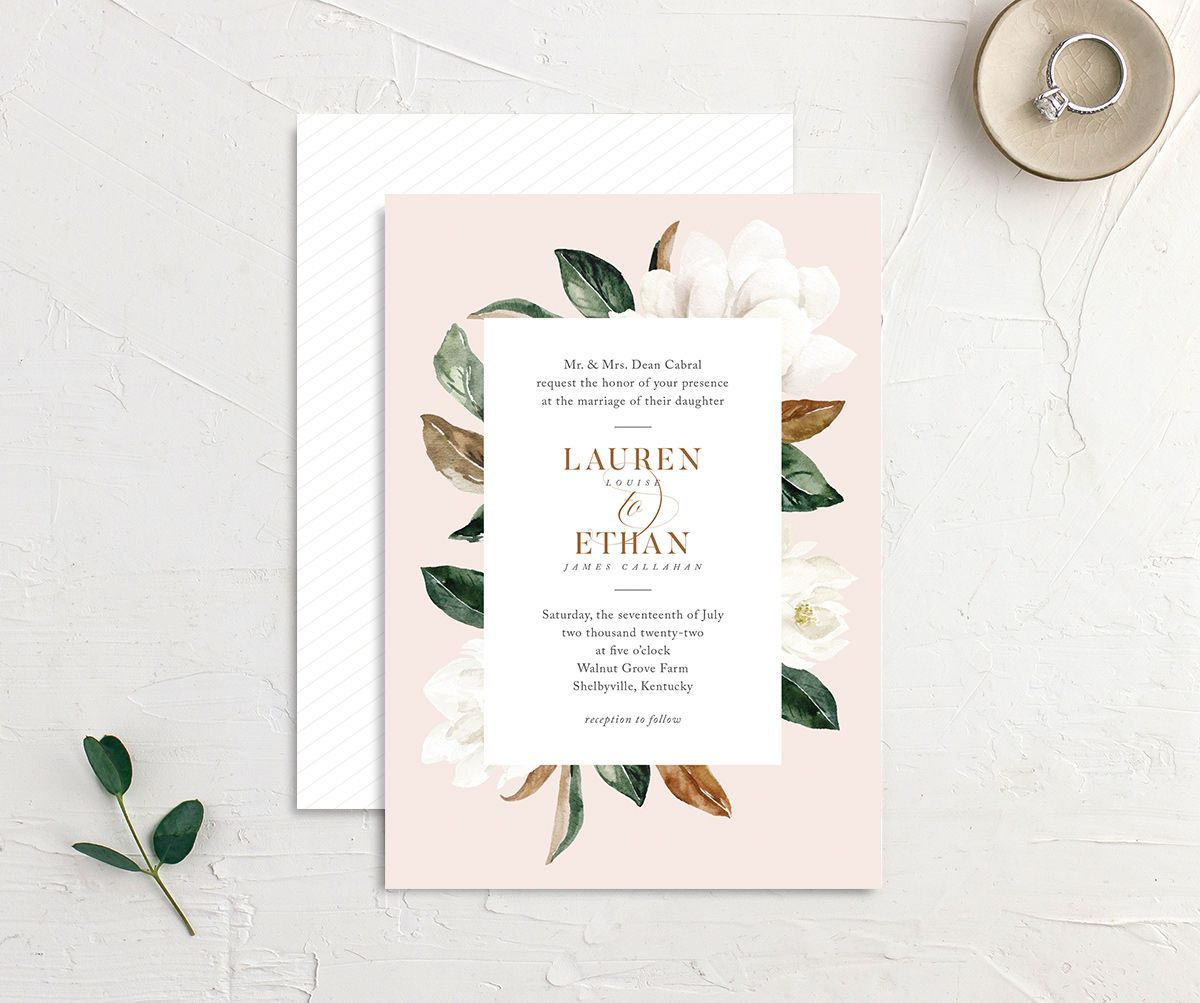 painted magnolia wedding invites in pink