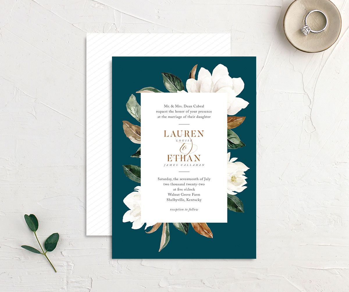 painted magnolia wedding invites in teal