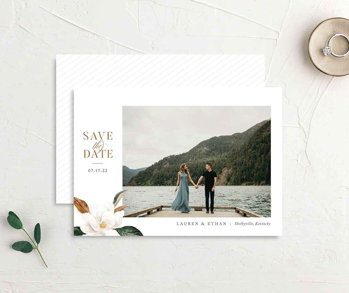 painted magnolia save the dates