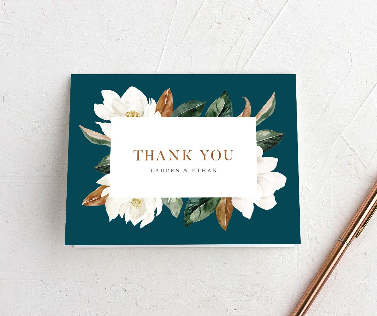 painted magnolia wedding thank you cards in teal