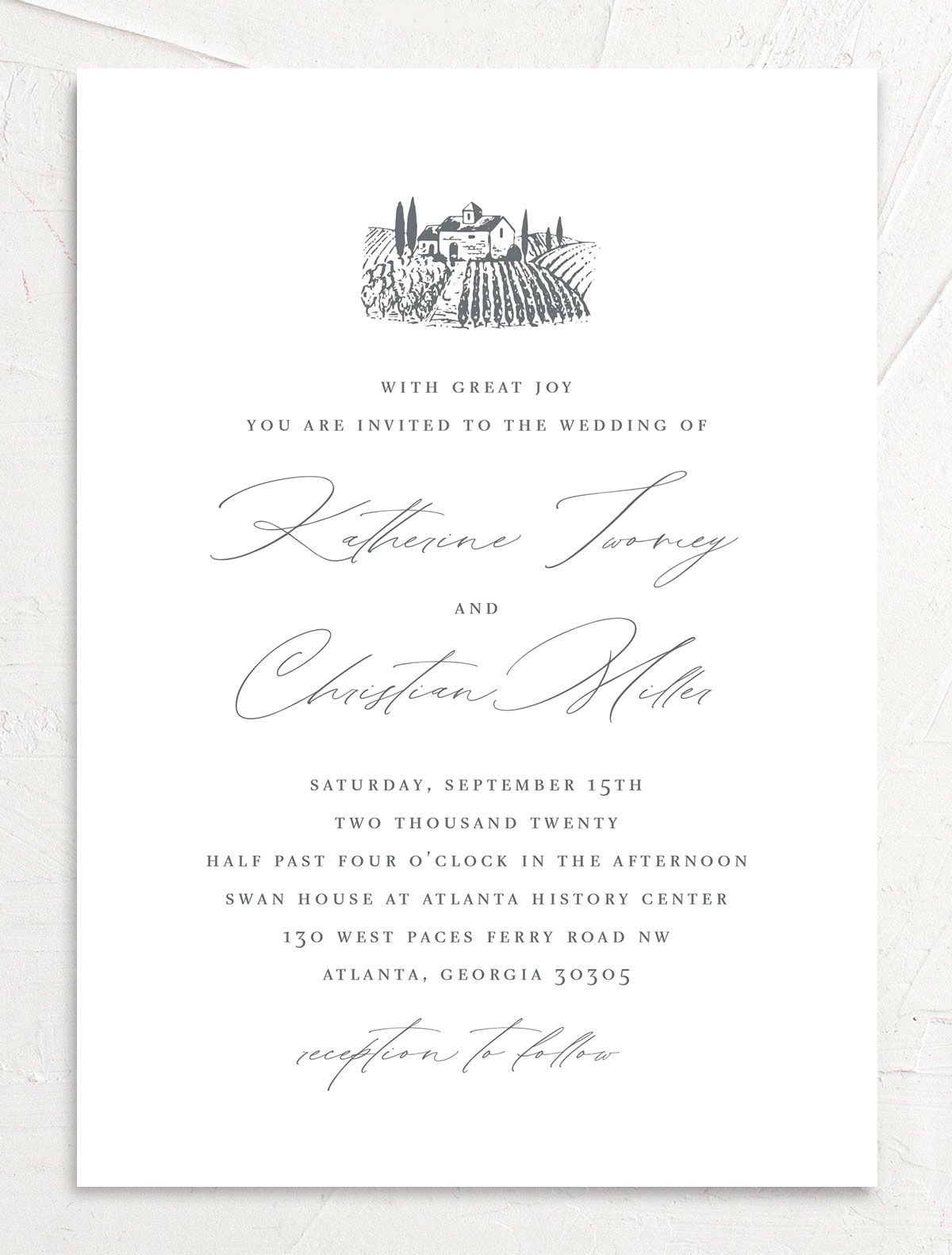 Classic Landscape Wedding Invitation closeup front in Vineyard
