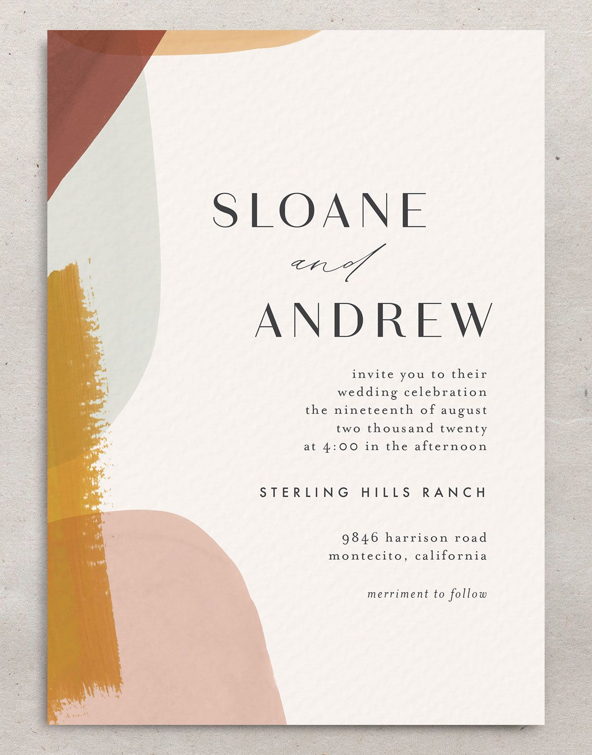 Abstract Watercolor wedding invitation front in gold merch