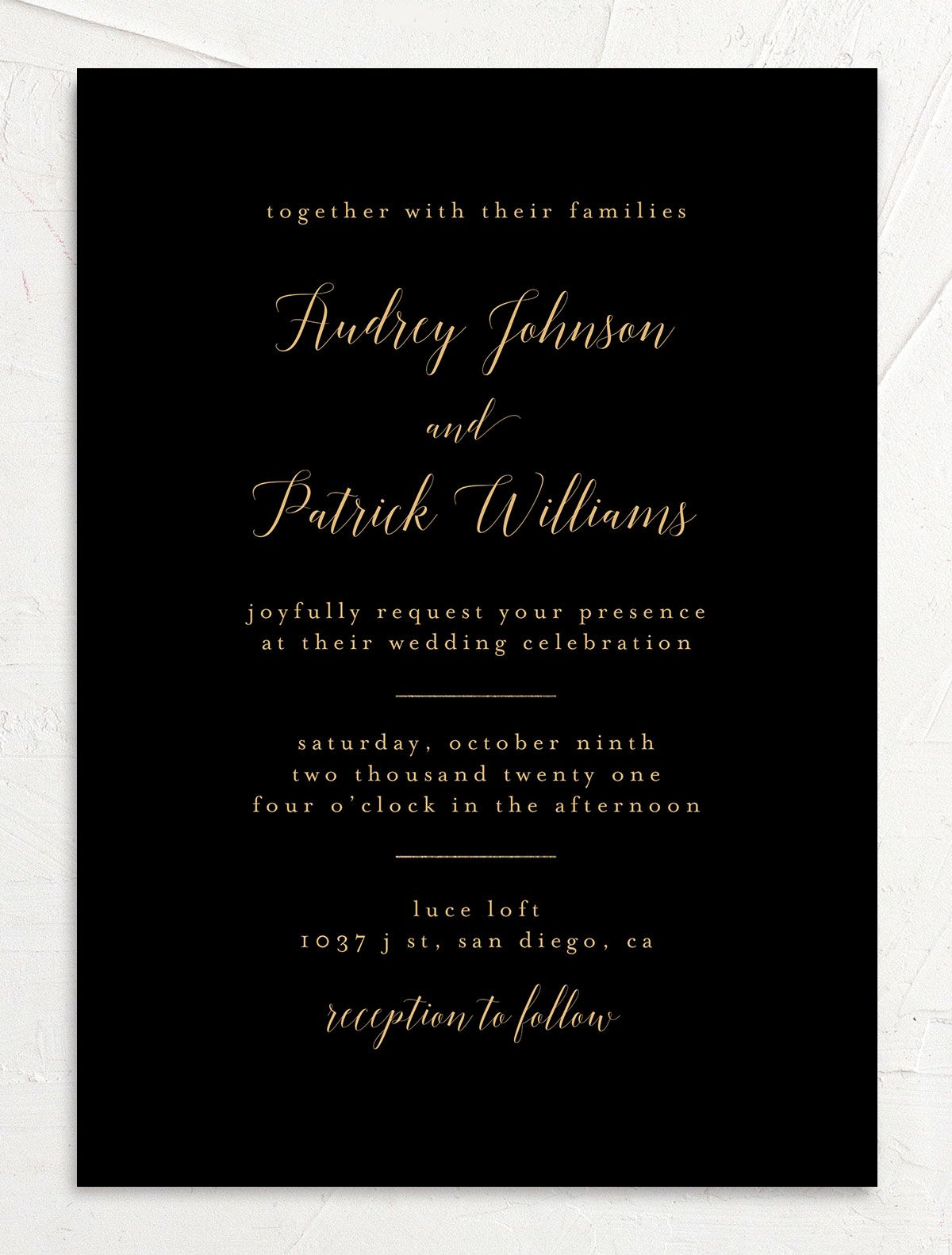 Marble and Gold Wedding Invitation front closeup in black