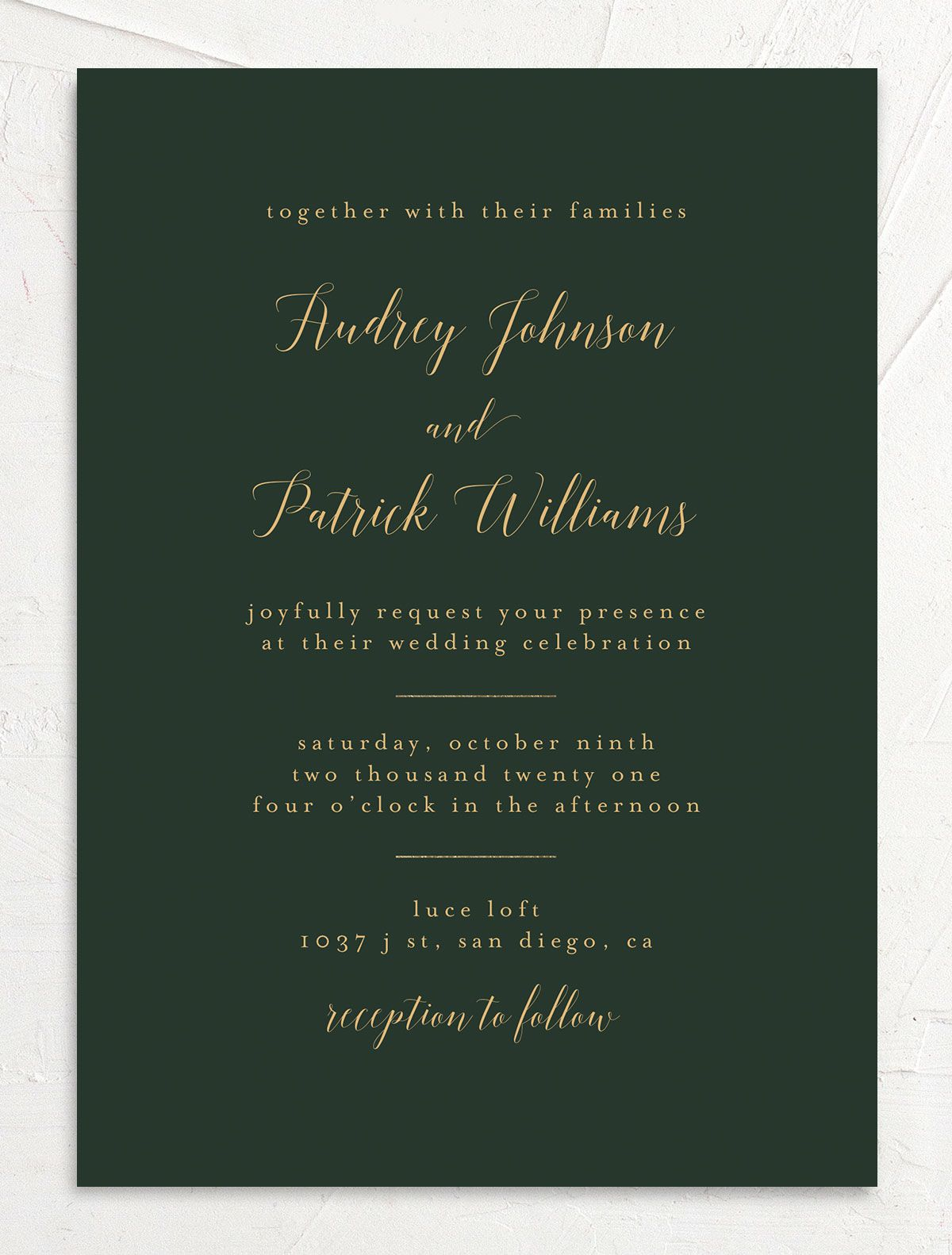 Marble and Gold Wedding Invitation front closeup in green