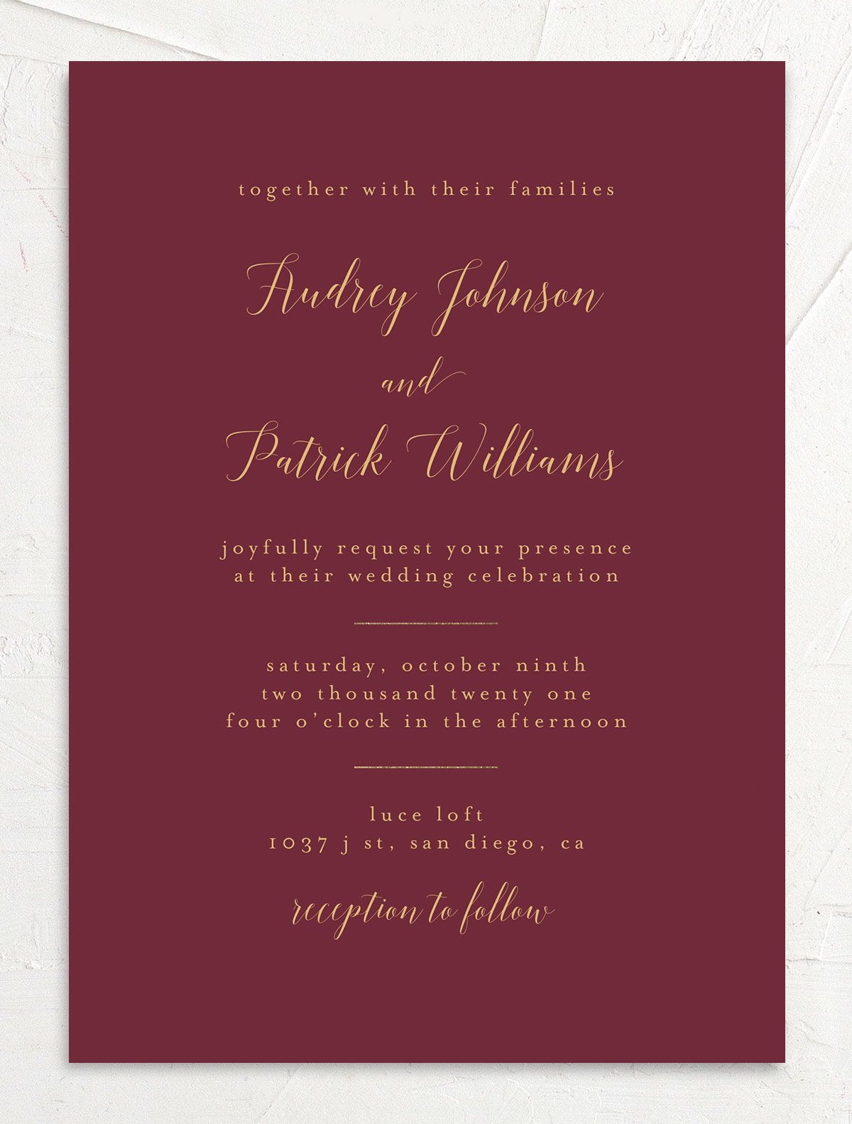 Marble and Gold Wedding Invitation front closeup in red