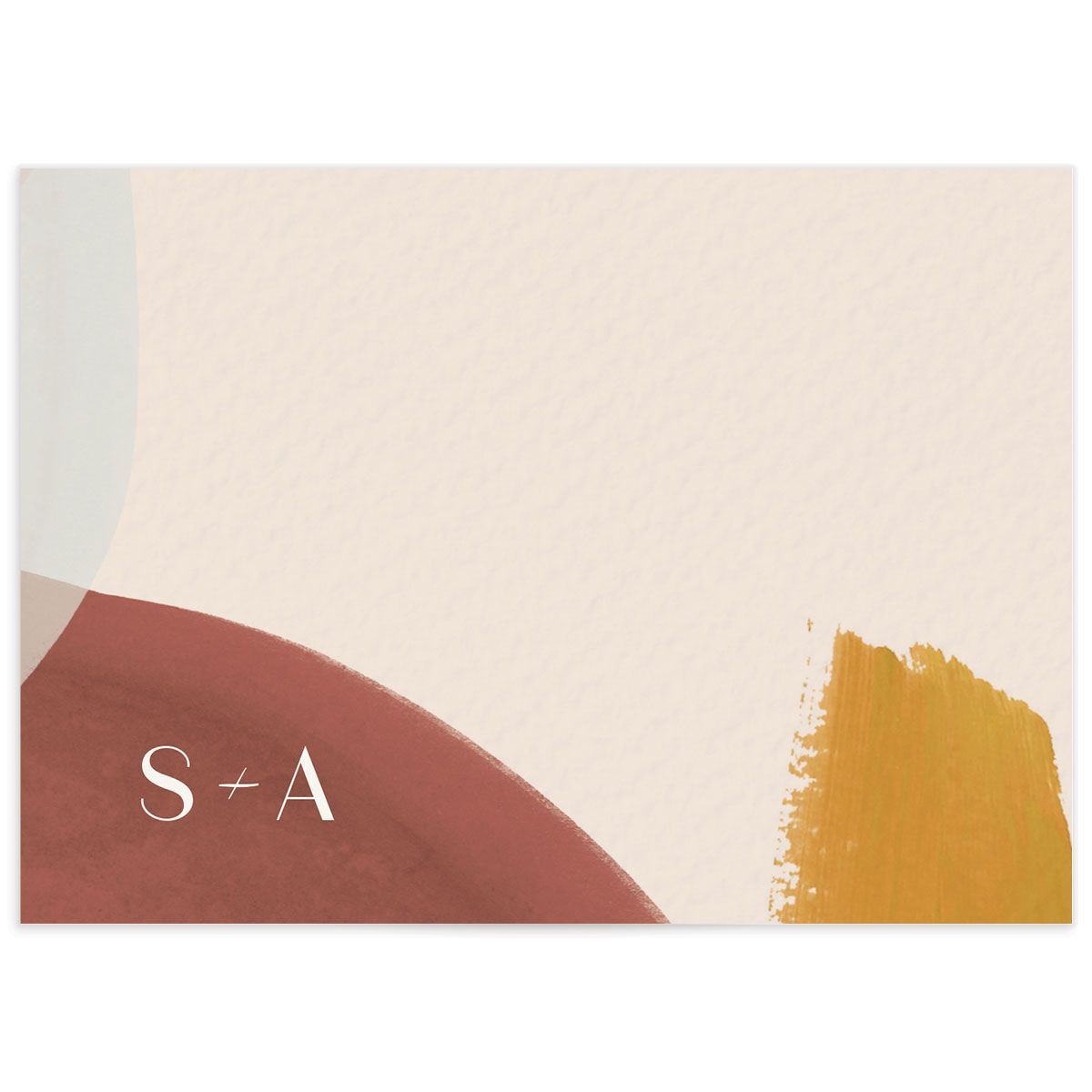 Abstract Watercolor wedding response card back in gold
